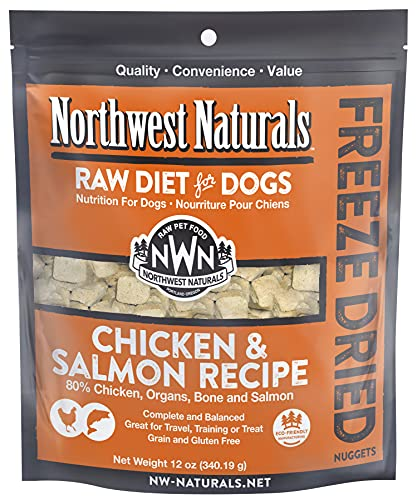 Northwest Naturals Freeze Dried Raw Diet for Dogs Freeze Dried Nuggets Dog Food – Chicken Salmon – Grain-Free, Gluten-Free Pet Food, Dog Training Treats – 12 Oz.
