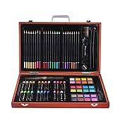 DJY-JY Inicio Niños Pintura Papelería 82 Piezas Caja de Madera Set Color Plomo Cera Stick Estudiante Pintura Herramientas Regalo Set Arte Suministros para Dibujo