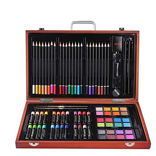 Tokyia Pintura de los niños de papelería 82 Piezas Caja de Madera Set Color del Plomo Cera Estudiante palillo de Herramientas de Pintura Suministros Conjunto de Regalo de Arte for el Dibujo