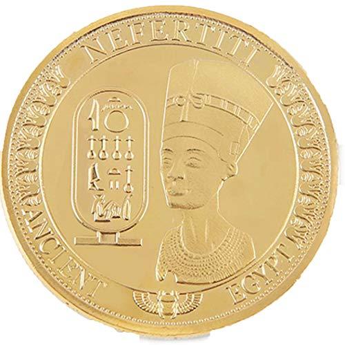 AmaMary Monedas conmemorativas, Oro Plateado Antiguo Egipcio Reina Nefertiti colección de Monedas conmemorativas (1 Pieza de Oro)