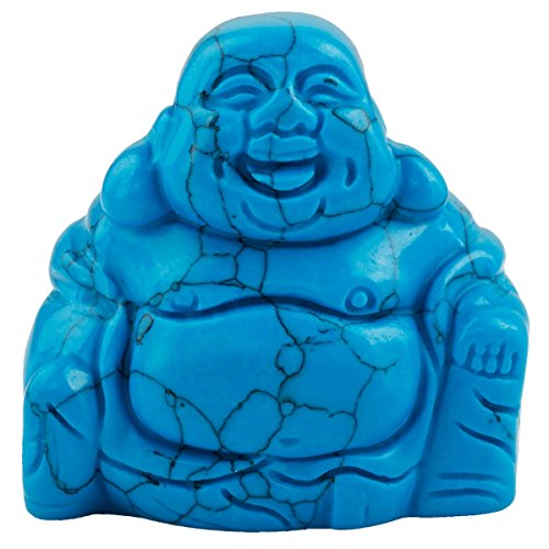 rockcloud Healing Crystal Gemstone Carved Laughing Happy Buddha Feng Shui Figurines Wealth and Good Luck 1.5'