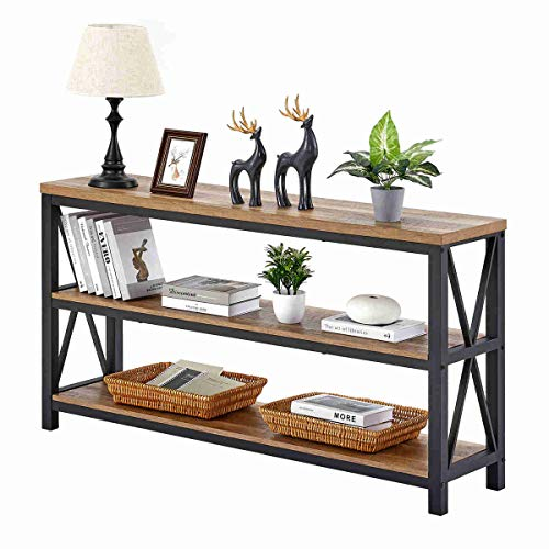 FATORRI Industrial Console Table for Entryway, Wood Sofa Table, Rustic Hallway Tables with 3-Tier Shelves for Living Room (55 Inch, Rustic Oak)