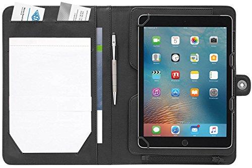Wedo 586901 Tablet Organizer Accento, Universalhalter 9,7 - 10,5 Zoll, Kunstleder, herausnehmbarer Halter, Präsentationsständer, Reißverschluss, mehrere Fächer, schwarz