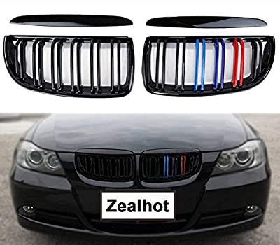 Zealhot Front Kidney Grille fit for BMW 3 Series E90 4 Door 2005-2008 Replacement Conversion Grill Double Line(Gloss M-Color)