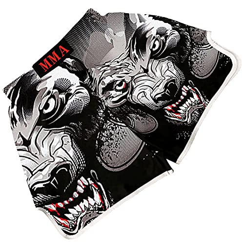HUAN Super Power Series Color Muay Thai Kick Shorts/MMA Fight Boxing Capacitación Equipo de Entrenamiento de UFC Campeonato Pantalones Cortos White-XL