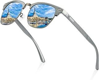 Fashion Sports Cycling Outdoor Fishing Travel Beach Polarized Sunglasses UV400 UV Protection Anti-Dizziness Men's Neutral Driving Sunglasses Retro (Color : Blue)