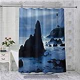 Aishare Store Cortina de ducha con ganchos, faro en la costa de California con viga tranquila superficie nebulosa Crepúsculo, 96 pulgadas de largo cortina de baño con ganchos, azul oscuro azul