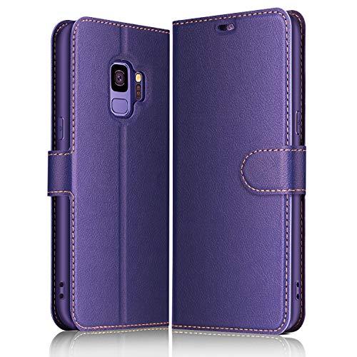 ELESNOW Hülle für Samsung Galaxy S9, Premium Leder Flip Schutzhülle Tasche Handyhülle mit [ Magnetverschluss, Kartenfach, Standfunktion ] für Galaxy S9 (Lila)
