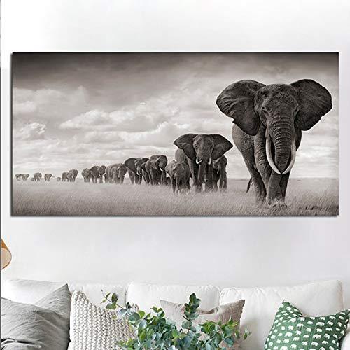 LOIUYT pintura sobre lienzo elefante migración pared arte cartel Modular vida silvestre Cuadros decoración del hogar imagen sin marco sala de estar 40x80cm