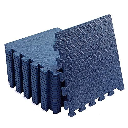 XQKXHZ Esterilla Puzzle de Deporte para Suelo Gimnasio | 30 x 30 x 2,5 cm | Combinable Goma Espuma de Protección | Expandible Losas de Colchonetas para Gimnasio, Yoga, Fitness,48pcs