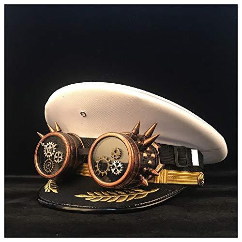 LHZUS Gorra de visera para sombreros Steampunk, gafas de engranaje cortical, disfraz de cosplay, sombrero de Halloween, talla M, L, XXL (color: blanco, tamaño: 60 cm)