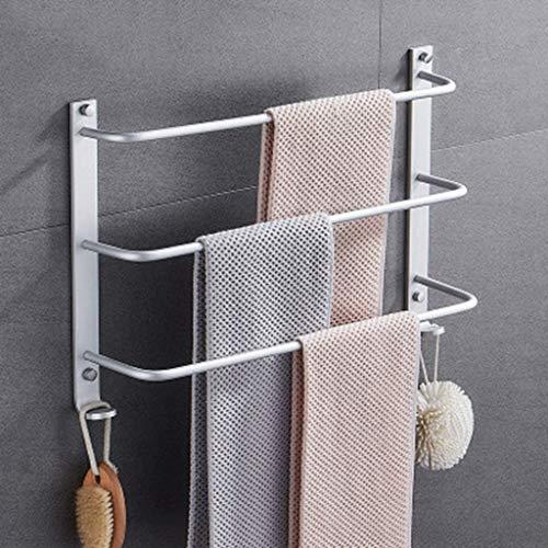 WYYAF Handdoekenrek, Wandmontage Handdoekenrek Rail, Driebar Ladder Badkamer Handdoek Bar Space Aluminum, Duurzaam en eenvoudig te installeren 40 cm