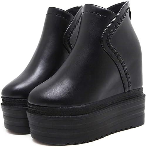 LBTSQ-Cientos De Tacones Altos botas Cortas Gruesas Suelas Muffin Pendiente zapatos botas De mujeres 12Cm Cabeza rojoonda Martin botas botas zapatos De mujer