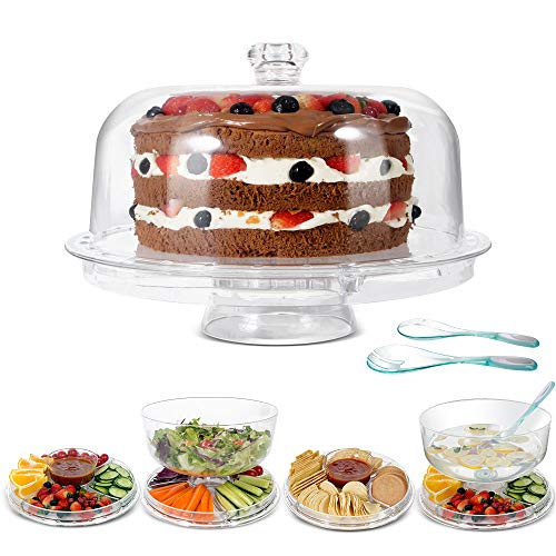Mastertop Acrylic Cake Stand 6-in-1 Multifunctional Serving Platter with Domed Cover and Spoons