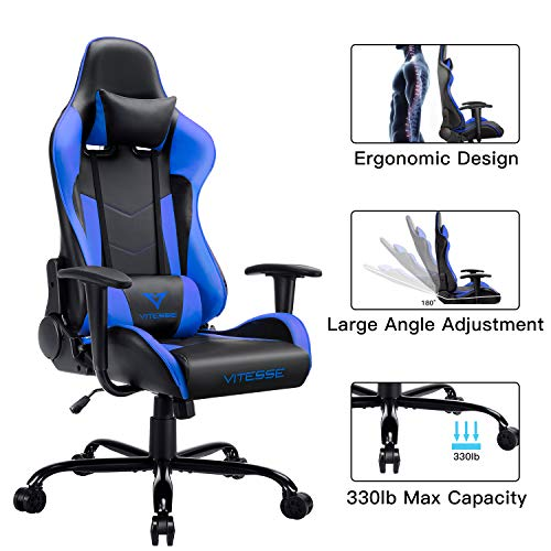 VIT Gaming Chair Racing Style High-Back PC Chair Ergonomic Office Desk Chair Swivel E-Sports Leather Computer Chair with Lumbar Support and Headrest (Blue) blue chair gaming