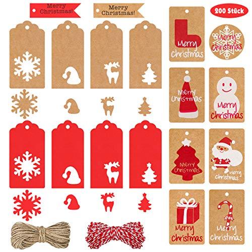 FHzytg 200 Stück 18 Arten Geschenkanhänger Weihnachten, Etiketten Weihnachten Geschenkanhänger Kraftpapier Etikett Kraftpapier Weihnachtsetiketten Geschenkeanhaenger Weihnachten mit 100 Schnur