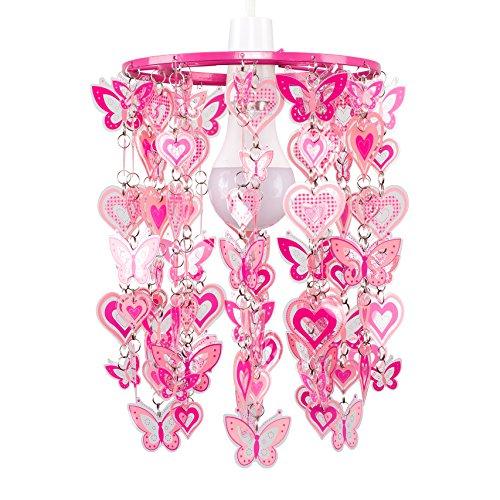 MiniSun – Moderner rosafarbener Lampenschirm mit Herzen- und Schmetterlingsmotiv für Hänge- und Pendelleuchte – Lampenschirm fürs Mädchenzimmer