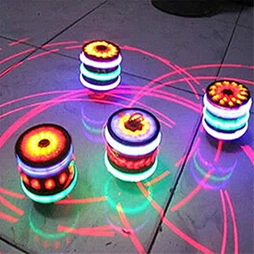 QOR Balance 2 pcs Spinning Top Colorful Flash LED Light Laser Music Gyroscope Children's Wood Luminous Music Gyro Classic Toys Kids