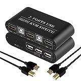 Switch HDMI KVM 2 Porte USB Commutatore a 2 porte Condivisione di 2 computer con un monito...