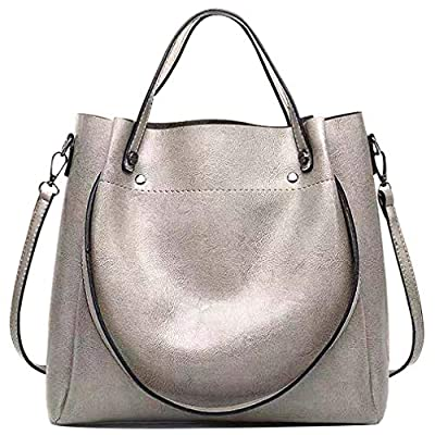 Pahajim fashion Women Oil wax PU Leather Bucket Bag Top Handle Satchel Purses Crossbody Bag Shoulder Waterproof Handbags Tote Bags for Ladies(gray)