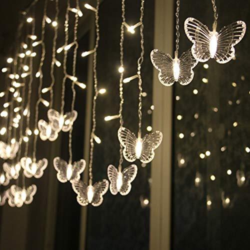 Btruely Fensterdeko Led Laterne Schmetterling Lichterkette Fensterbeleuchtung Festival Valentinstag Fenster Dekoration Leuchtend Weihnachtenweihnachten FüR TüRen,Schaufenster, Vitrinen