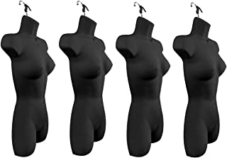Only Hangers Set of Four Women's Torso Female Plastic Hanging Mannequin Body Forms in Black - Pack of (4)
