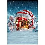 Iselezm Winter Christmas Background for Children Kids Cartoon Castle Backdrop Christmas Party Decor Snow Photographic Backdrop Blue Nigh 150x220cm ThinVinyl