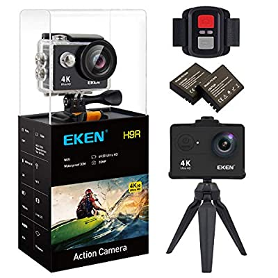 EKEN H9R 4K Action Camera, Full HD WiFi Waterproof Sports Camera with 4K25/ 1080P60/ 720P120fps Video, 12MP Photo and 170 Wide-Angle Lens, Includes 18 Mountings Kit, 2 Batteries from EKEN