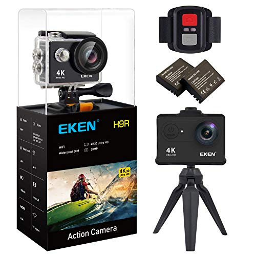 New EKEN H9R Action Camera 4K WiFi Waterproof Sports Camera Full HD 4K30 2.7K30 1080p60 720p120 Video Camera 20MP Photo and 170 Wide Angle Lens Includes 11 Mountings Kit 2 Batteries Black