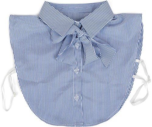 styleBREAKER Damen Blusenkragen Einsatz mit Knopfleiste und Schleife, Kragen für Blusen und Pullover, Schluppenbluse 08020003, Farbe:Blau-Weiß