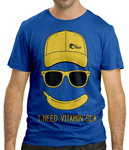Cressi Beach Men's I NEED VITAMIN SEA T-shirt, Blue, X-Large