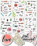 Sticker Hochzeit Gästebuch (6 Bögen) - Vintage Hochzeit Aufkleber für Gästebuch oder Fotoalbum mit viel Liebe - Love Stickers für Scrapbook oder Bullet Journal - Wedding Deko mit Herz -...