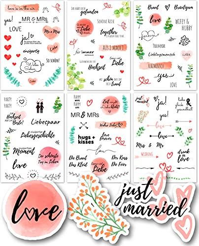 Sticker Hochzeit Gästebuch (6 Bögen) - Vintage Hochzeit Aufkleber für Gästebuch oder Fotoalbum mit viel Liebe - Love Stickers für Scrapbook oder Bullet Journal - Wedding Deko mit Herz - 870242