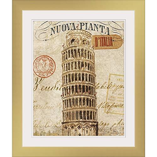 "GREATBIGCANVAS Letter from Pisa Gold Framed Wall Art Print, 24""x30""x.75"