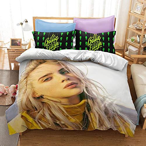 Billie Eilish 3D print pattern funda nórdica funda de almohada, niña, cantante profesional favorita de los adolescentes, modelo, la mejor ropa de cama para decorar el dormitorio-5_140 * 210cm2(pcs)