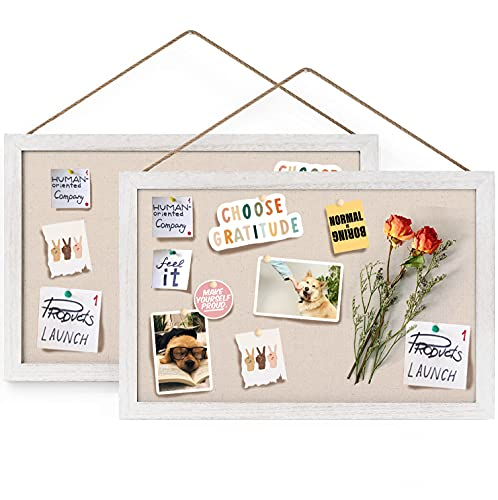 Emfogo 16x11 Wood Bulletin Boards with Linen Wall Bulletin Board for Home Kitchen Office Decorative Hanging Pin Board Frame Cork Board Light Bulletin Boards for Bedroom Pack of 2 (Vintage White)