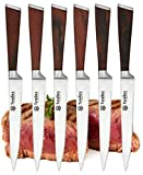 Tyrellex Steak Knives | Premium 6-pc Steak Knife Set with Quality Red Pakkawood