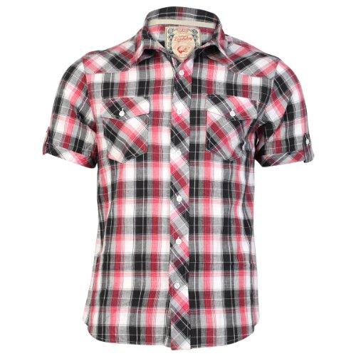Tokyo Laundry Herren Kariertes Hemd Maryland Hochkragen Top - Rot, S - 97cm Brustumfang
