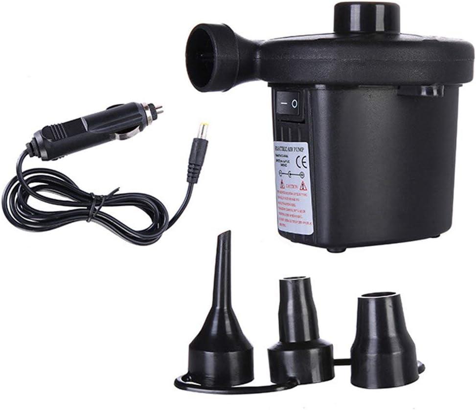 Pump UK Plug Electric Air Pump DC12V//AC230V Inflate Deflate Pumps Car Inflator Electropump With 3 Nozzles Portable for Outdoor Kayak Voltage: 230V// Type: Black