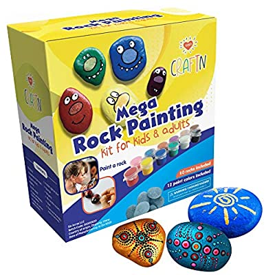 Mega Rock Painting Art Kit for Kids, Adults, and Families – DIY Arts and Crafts for Ages 8 and up – Includes Rocks, Waterproof Paints and Markers – 200+ Pieces - Gift Sets from Six Acres LLC