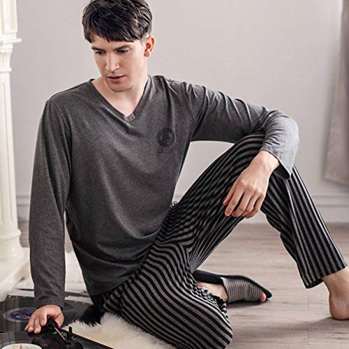 N-B Pijamas para hombre, modal de primavera y otoño, pantalones de manga larga y ropa a rayas para el hogar, trajes casuales para hombre se pueden llevar al aire libre en verano
