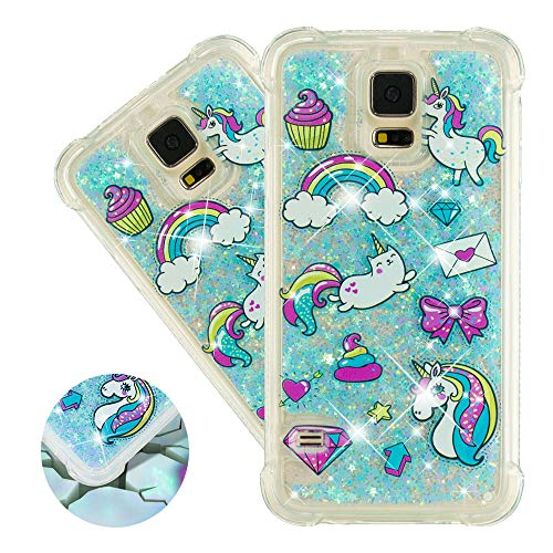 HMTECHUS Galaxy S5 case for Girl 3D Painted Glitter Liquid Sparkle Floating Luxury Quicksand Shockproof?Protective Diamond Silicone Slim Cover for Samsung Galaxy S5 I9600 -Bilng Rainbow Horse YB
