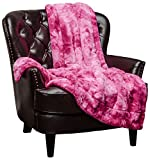 Chanasya Super Soft Fuzzy Faux Fur Throw Blankets - Fluffy Plush Lightweight Cozy Snuggly with Sherpa for Couch Sofa Living Room Bedroom - Rose Fall Winter Home Decor (50x65 Inches) Pink Gift Blanket