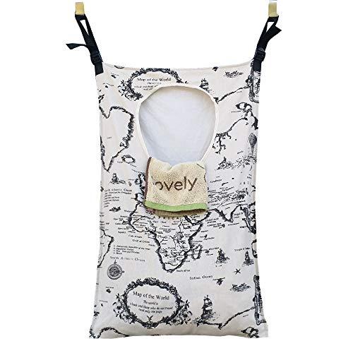 Amlrt Adjustable DoorHanging Laundry Hamper with Stainless Steel Hooks Hanging Laundry Bag