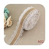 2.5CM * 2M /ロールナチュラルジュートバーラップヘシアンリボンコットンレース付きDIYトリム生地縫製結婚式の装飾-A02-
