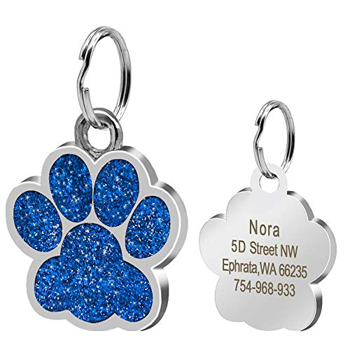 Didog Large Glitter Paw Print Custom Pet ID Tags for Medium Large Dogs and Cats,Personalized Engraving,Blue