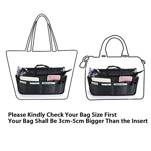 Printed Handbag Organiser Insert with Handle - Black