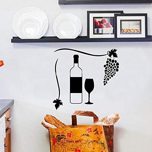 Muursticker Creatief Wijnglas met Druiven Woondecoratie Keuken 19.3x19.3 inch