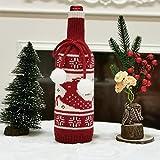 5 uds Funda de Botella de Vino de Navidad Bolsa de Botella de Vino de champán de Punto para decoración del hogar decoración de Mesa de Fiesta Alce