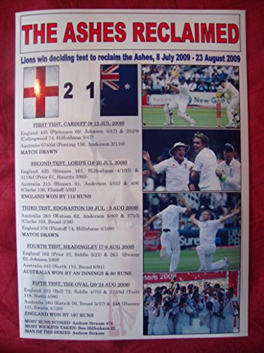 Inglaterra 2009 cenizas ganadores - recuerdo impresión